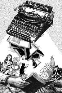 typewriter ink drawing of mothership independent handmade books
